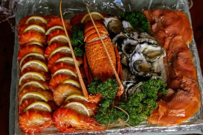 smoked seafood, salmon and prawns