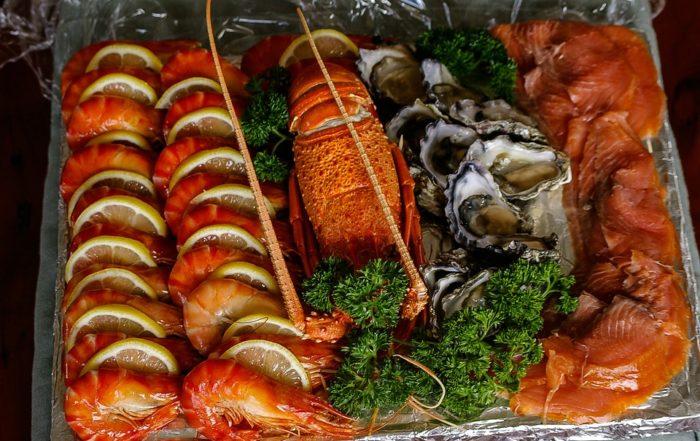 smoked seafood, salmon and prawns